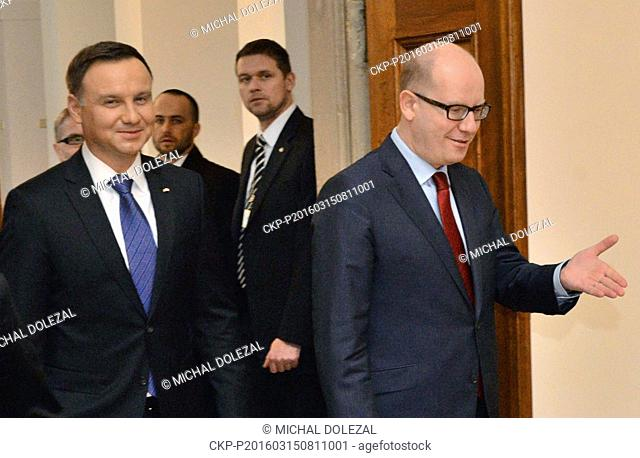 Polish President Andrzej Duda (left) and Czech Prime Minister Bohuslav Sobotka (right) talked about the cooperation in the Visegrad Group (V4) comprised of the...