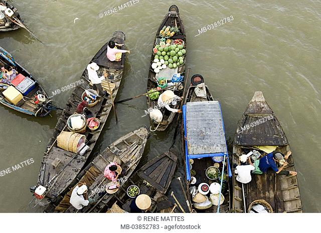 Vietnam, Mekongdelta, Cai position, river-market, boats, from above, Asia, southeast-Asia, river Mekong, city, swimming market, trade, retails, economy, dealers