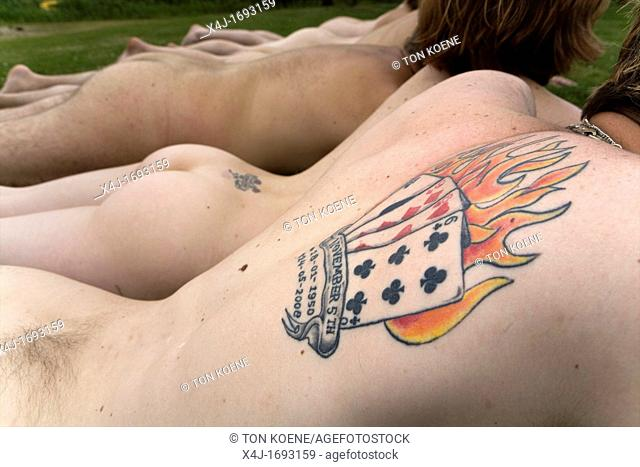 Young people at a nudist camp