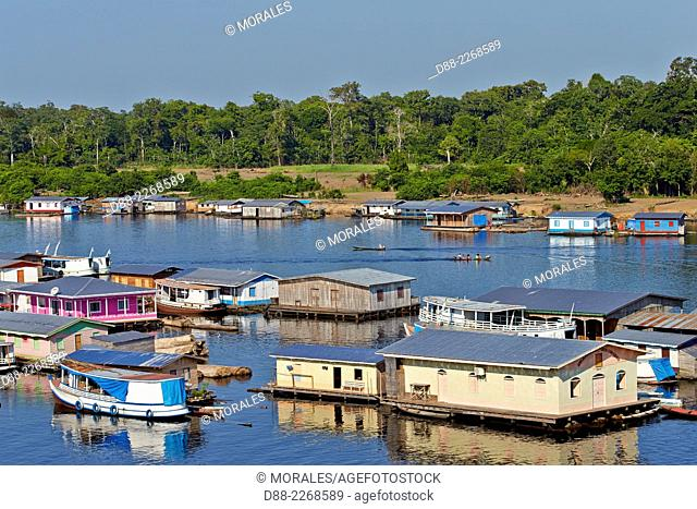 South America Brazil,Amazonas state,Manaus,Amazon river basin,Tapaua,Floating houses,part of the town at the junction pf the Purus river and the Ipixuna river