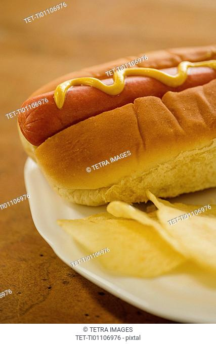 Hot dog and potato chips