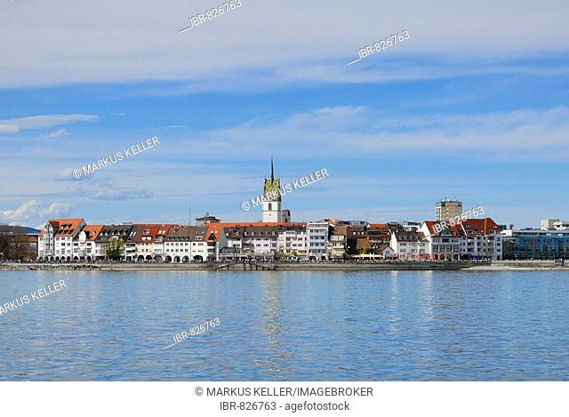 View of the promenade of the historic centre of Friefrichshafen, Baden-Wuerttemberg, Germany, Europe