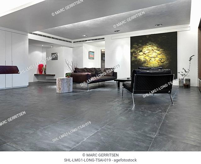 Slate tile floor in modern living room