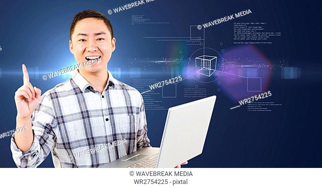 Happy man with laptop in his hands against futuristic intreface