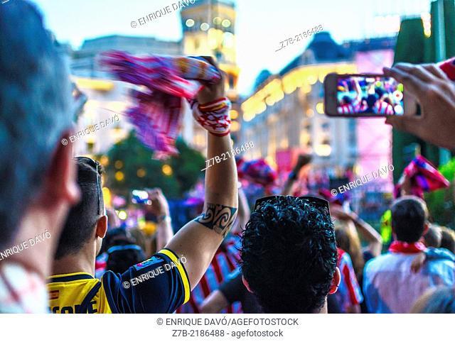 Celebration of Atlhetic Madrid football fans, champion league 2014, Madrid city, Spain