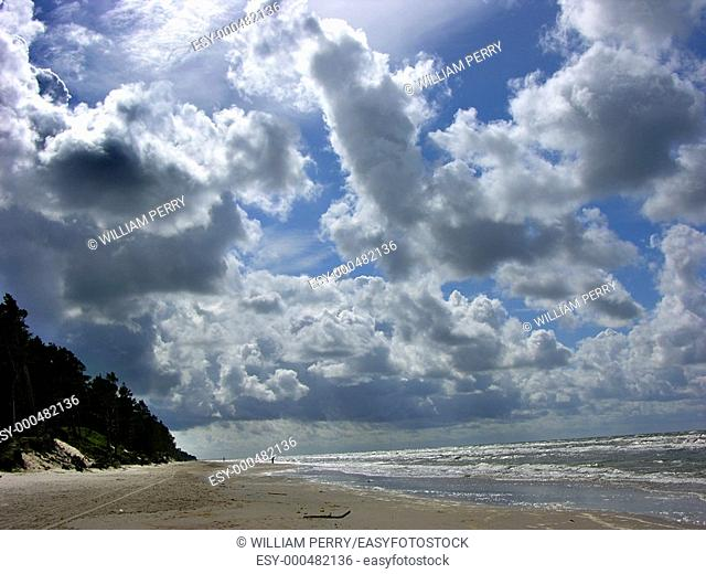 Beach At Liepajas, Latvia, Baltic Sea, Under Blue Skies and Lots of fair weather clouds