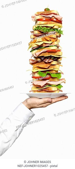 Person holding stack of sandwiches