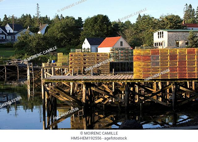 United States, Maine, Port Clyde, pots for lobster fishing