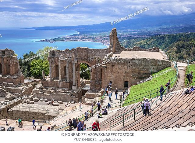 Ancient theatre in Taormina comune in Metropolitan City of Messina, on the east coast of the island of Sicily, Italy