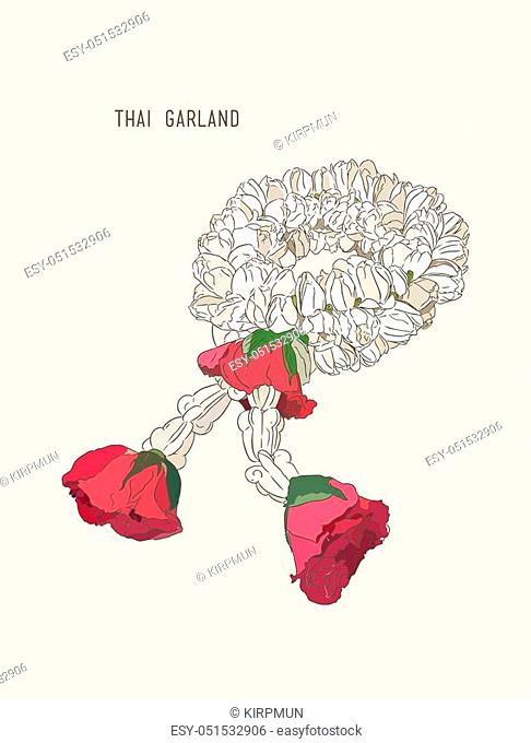 Thai style bouquet use in traditional, hand draw sketch vector