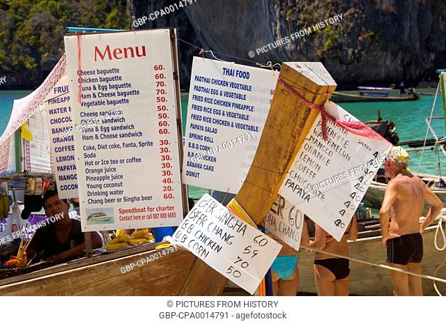 Thailand: Menu from one of the food boats lined up on the beach at Hat Tham Phra Nang, Krabi Coast