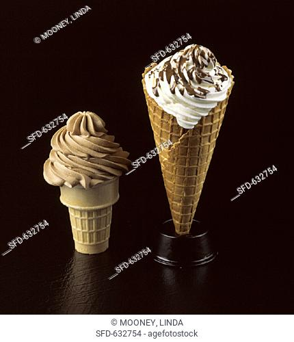 Vanilla and Chocolate Soft Ice Cream Cones