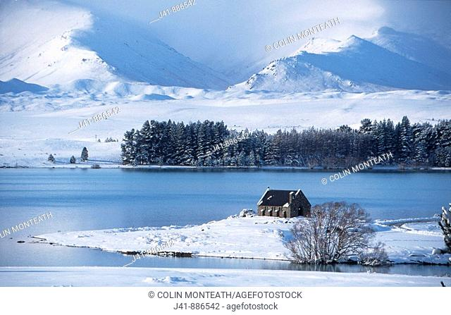 Church of the Good Shepherd winter Lake Tekapo South Island New Zealand