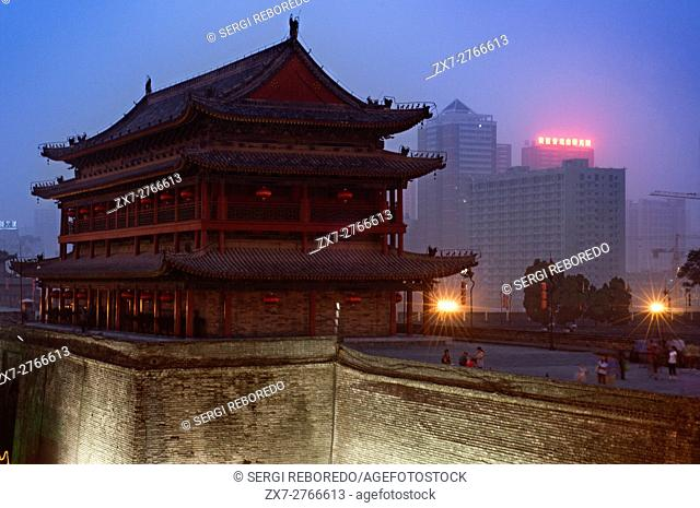 Low Angle View of ancient Xian City Wall Gate and Tower, Shaanxi, China