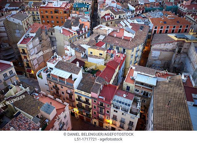 Barrio del Carmen, Valencia city from El Miguelete tower, Valencia, city, Valencia, Spain