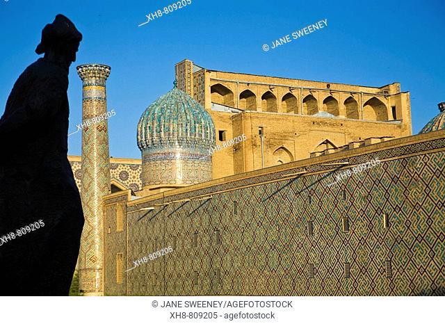 Statue of man, Registan ensemble, Samarkand, Uzbekistan