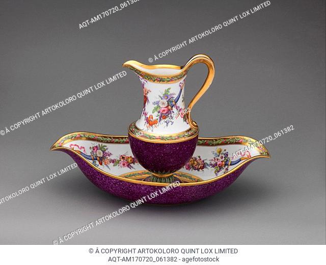 Ewer and basin, 1795, French, Sèvres, Hard-paste porcelain, Height (ewer): 10 in. (25.4 cm); Width (basin): 15 3/4 in. (40 cm), Ceramics-Porcelain
