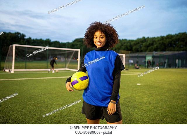 Female football player, Hackney, East London, UK