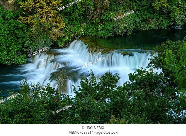 Croatia, Dalmatia, region of Sibenik, Krka National Park, Lozovac, Skradinski buk, waterfall