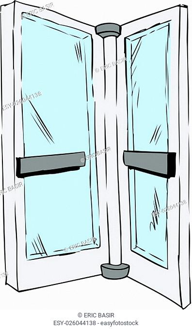 Sketch of isolated revolving door pane over white