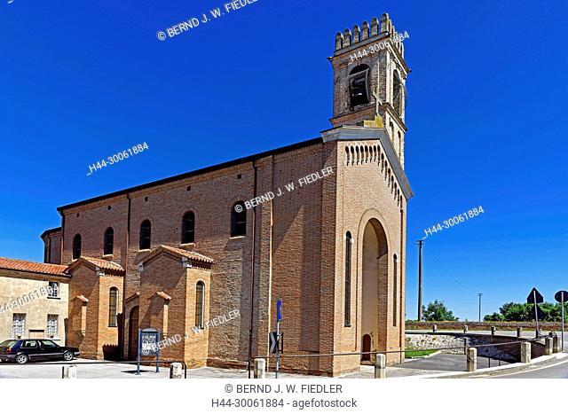 Europe, Italy, Veneto Veneto, Gorgo, via approx.` Blanca, church, architecture, building, church, towers, bells, trees, plants, vehicles, street