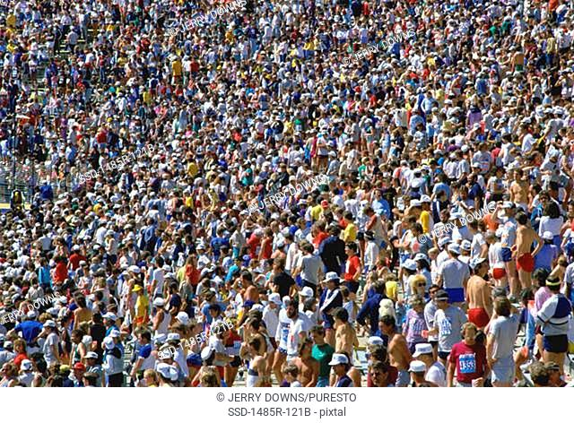 High angle view of a crowd of people