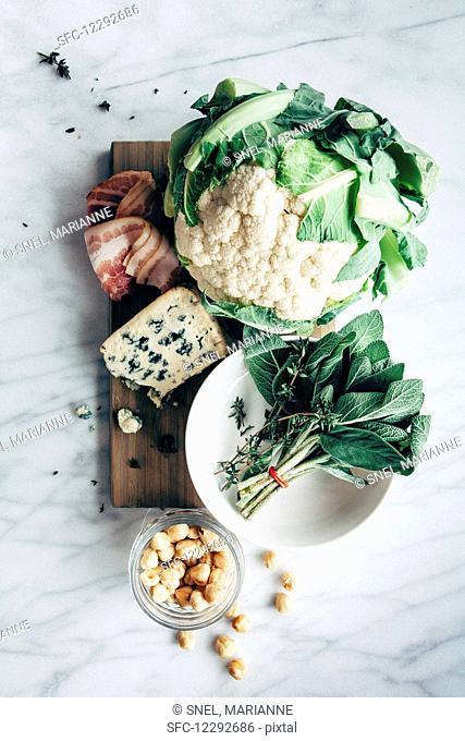 Cauliflower, blue cheese, sage, thyme, hazelnuts, bacon