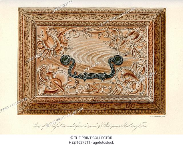 Cover of the carved cassolette made from the wood of Shakespeare's mulberry tree, c18th century, (1840). Presented to David Garrick by the corporation of the...
