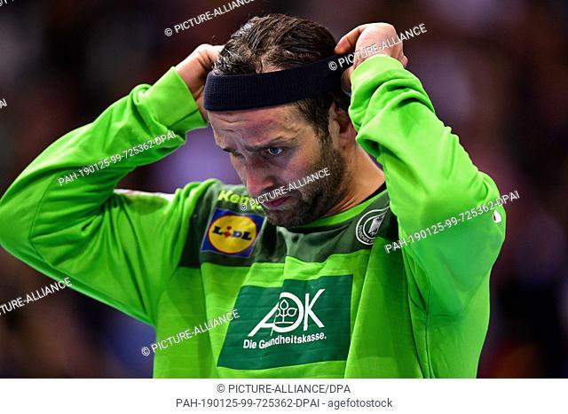 25 January 2019, Hamburg: Handball: WM, Germany - Norway, final round, semi-final. Germany's goalkeeper Silvio Heinevetter reacts after the game
