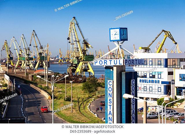 Romania, Black Sea Coast, Constanta, elevated view of the Constanta Port, morning