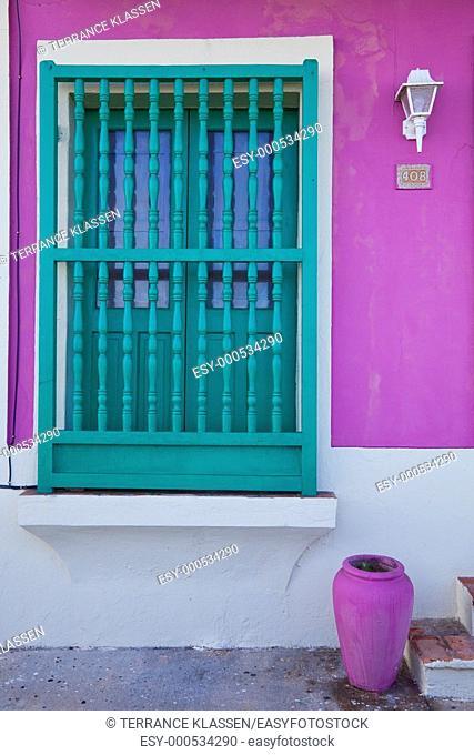 Buildings with balconies, window and doors in San Juan, Puerto Rico, West Indies