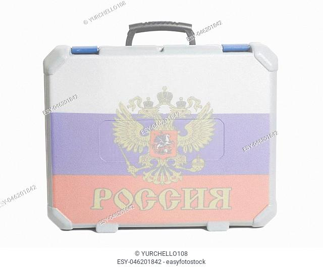 Business travel suitcase with Russian Flag isolated on a white background
