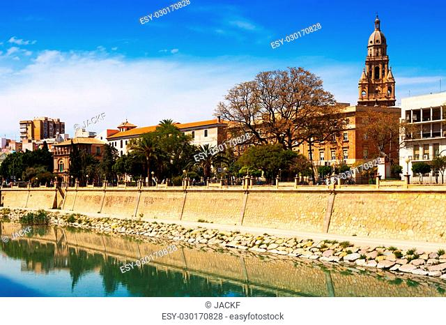 View of Murcia. Embankment of Segura river and Cathedral. Spain