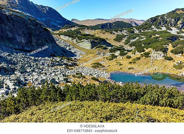 Amazing landscape with mountain lake, Rila Mountain, Bulgaria