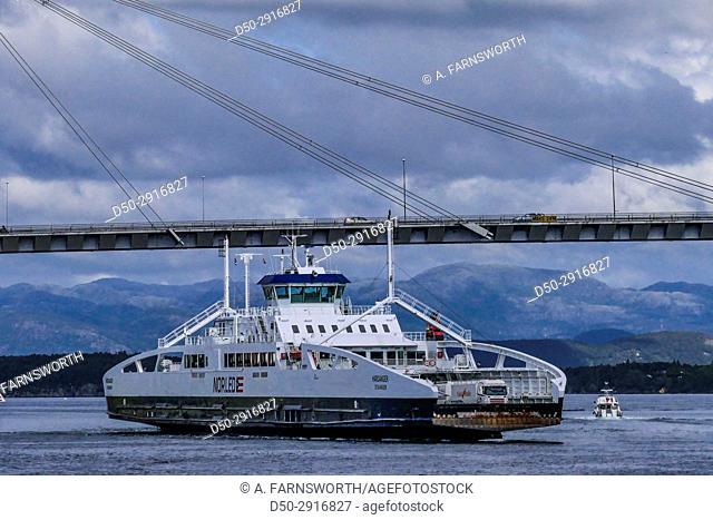 STAVANGER NORWAY Stavanger Bybrua Bridge and ferries