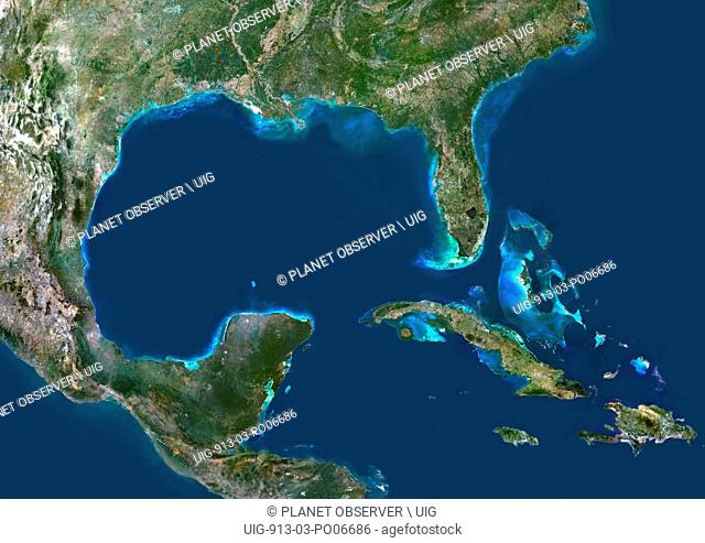 Colour satellite image of the Gulf of Mexico