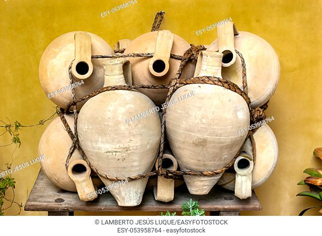 Artisan jars made of clay and strung with cornea