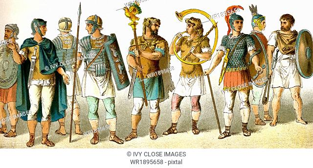 The figures represent ancient Roman military personnel, from left to right: four soldiers, standard bearer, horn-blower, chieftain, soldier, and slinger