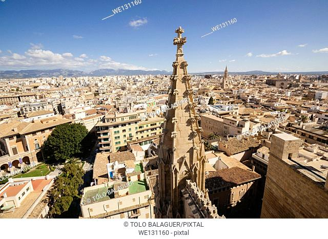 Spires of the Cathedral, Palma. Majorca, Balearic Islands, Spain