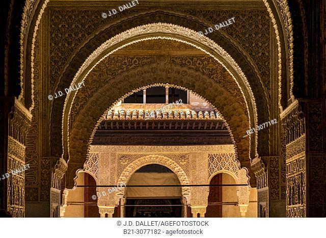 """""""Patio de los Leones"""", at the Alhambra Palace, at Granada, Andalusia, Spain"