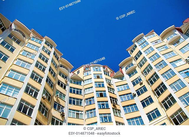 The modern house against the sky