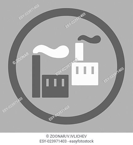 Industry flat dark gray and white colors rounded glyph icon
