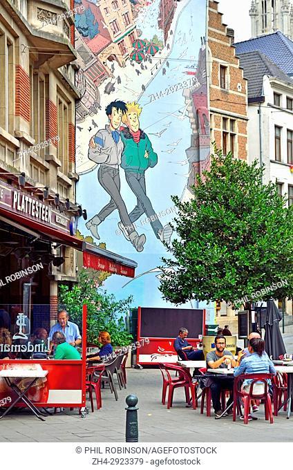 """Brussels, Belgium. Mural on the Comic Book Route: """"""""Brousaille"""""""" (1999, Frank Pe) Rue du Marché au Charbon / Rue des Teinturiers (Kolenmarkt / Verversstraat)"""