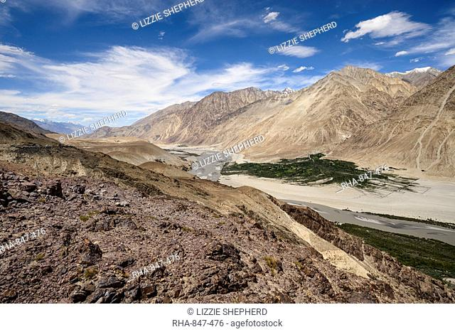 Looking down towards Khalsar village in the Nubra Valley, Khalsar, Ladakh, India, Asia