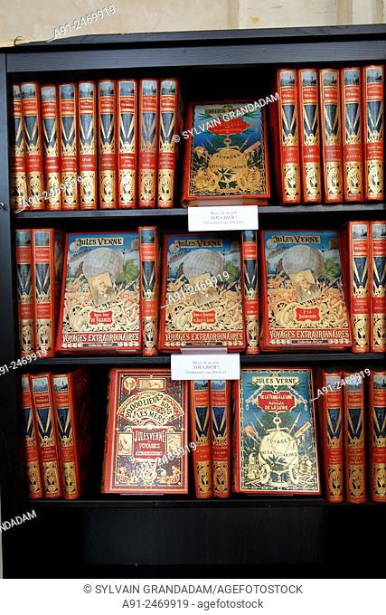 France, Sarthe, City of Le Mans, antique books fair inside historic Saint Vincent Abbey, Jules Verne original editions by Hetzel