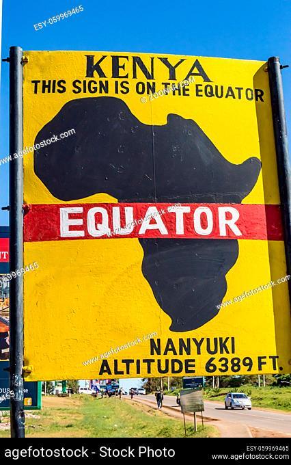Equator line road sign in Nanyuki city in central Kenya