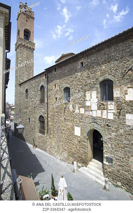 Montalcino, one of the most beautiful villages of Italy Tuscany Italy on July 7, 2019. Palazzo Pretorio