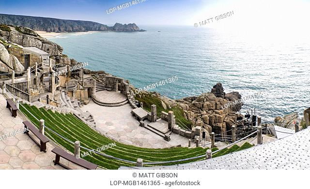 England, Cornwall, Porthcurno. Minack Theatre in Cornwall built into cliff face by Rowena Cade