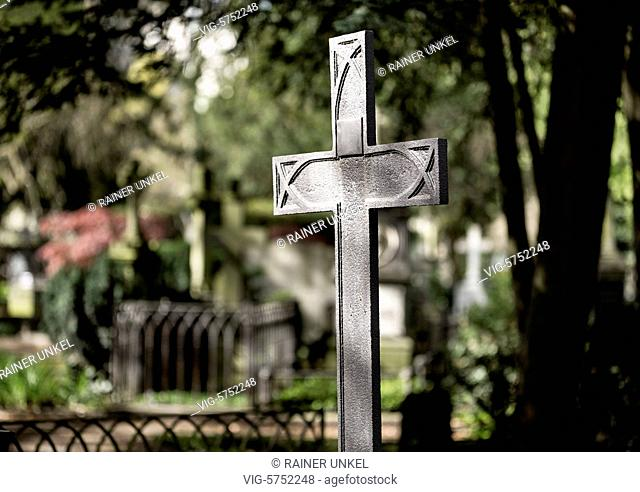 GERMANY : A Holy Cross on a cemetery , 19.04.2017 - Bonn, Northrhine-Westfalia, Germany, 19/04/2017