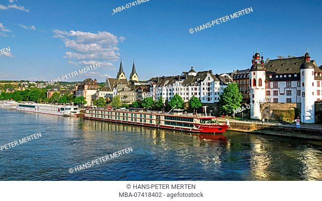 Moselle at the Peter Altmeier shore with castle, Koblenz, Rhine valley, Rhineland-Palatinate, Germany